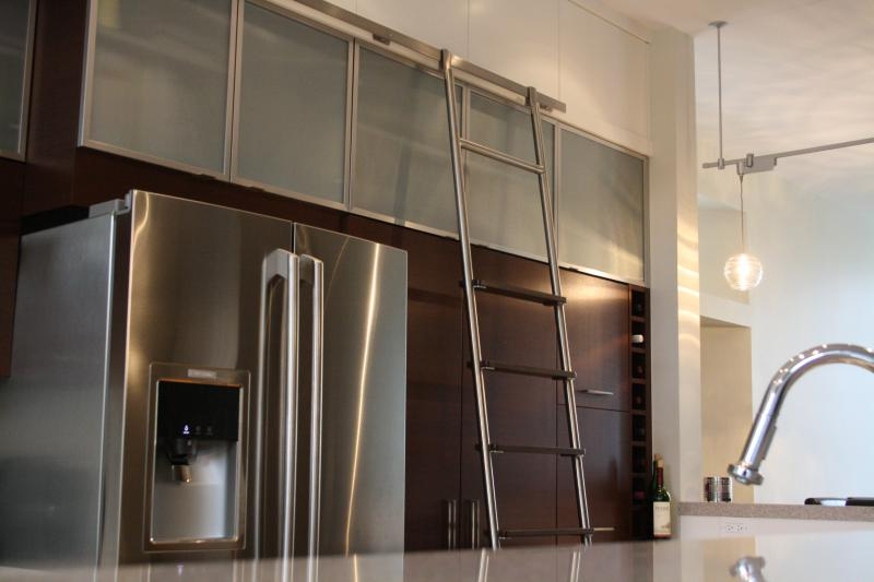Custom Sliding Kitchen Ladder With Maple Stainless